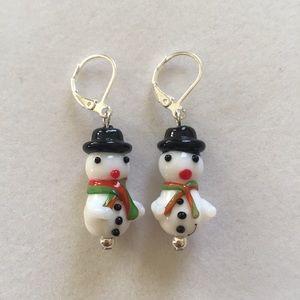 Lampwork snowmen earrings